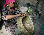 Doing wicker bag. <br /> The traditional life of the Wakhi people, in the Wakhan corridor, amongst the Pamir mountains.