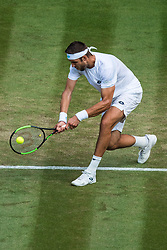 July 9, 2018 - London, England, U.S. - LONDON, ENG - JULY 09: JIRI VESELY (CZE) during day seven match of the 2018 Wimbledon on July 9, 2018, at All England Lawn Tennis and Croquet Club in London,England. (Photo by Chaz Niell/Icon Sportswire) (Credit Image: © Chaz Niell/Icon SMI via ZUMA Press)