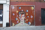 The iconic David Bowie mural in Brixton on the 11th April 2018 in South London, United Kingdom. The work waspainted by Australian street artist Jimmy Cochra in 2013.