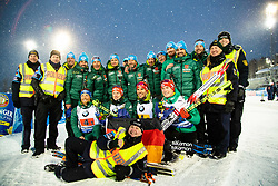 March 16, 2019 - –Stersund, Sweden - 190316 Erik Lesser, Roman Rees, Arnd Peiffer and Benedikt Doll of Germany celebrates with team and police after the Men's 4x7,5 km Relay during the IBU World Championships Biathlon on March 16, 2019 in Östersund..Photo: Johan Axelsson / BILDBYRÃ…N / Cop 245 (Credit Image: © Johan Axelsson/Bildbyran via ZUMA Press)