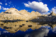 Alpine tarn under the Palisades in Dusy Basin, Kings Canyon National Park, California USA