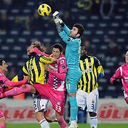 Kasimpasaspor's goalkeeper Sadrettin Firat KOCAOGLU (C) during their Turkish superleague soccer match Fenerbahce between Kasimpasaspor at the Sukru Saracaoglu stadium in Istanbul Turkey on Saturday 26 February 2011. Photo by TURKPIX
