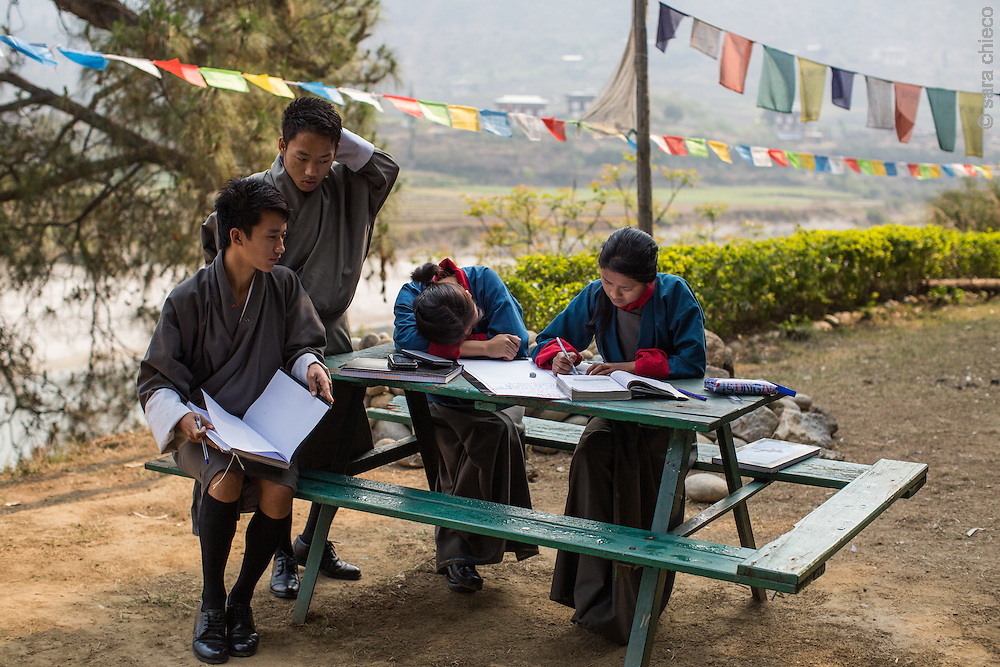 School Children studying outdoors in Punakha, Bhutan