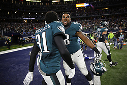 Philadelphia Eagles guard Josh Andrews #68 celebrates with teammates after they won in overtime of the NFL game between the Philadelphia Eagles and the Dallas Cowboys at AT&T Stadium in Arlington, Texas on Sunday November 9th 2015. The Eagles won 33-27 in overtime. (Brian Garfinkel/Philadelphia Eagles)