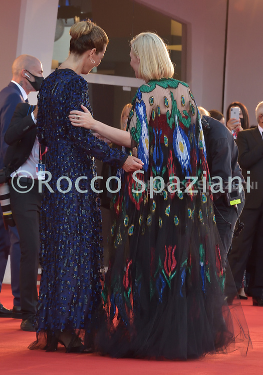 VENICE, ITALY - SEPTEMBER 12: Cate Blanchett ,Roberta Armani walk the red carpet ahead of closing ceremony at the 77th Venice Film Festival on September 12, 2020 in Venice, Italy.<br /> (Photo by Rocco Spaziani)