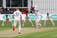 Wayne Madsen drives Dieter Klein for 4 during the Specsavers County Champ Div 2 match between Leicestershire County Cricket Club and Derbyshire County Cricket Club at the Fischer County Ground, Grace Road, Leicester, United Kingdom on 27 May 2019.