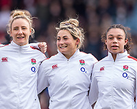 England Women's Vicky Fleetwood smiles during the anthem with England Women's Amelia Harper<br /> <br /> Photographer Bob Bradford/CameraSport<br /> <br /> 2020 Women's Six Nations Championship - England v Wales - Saturday 7th March 2020 - The Stoop - London<br /> <br /> World Copyright © 2020 CameraSport. All rights reserved. 43 Linden Ave. Countesthorpe. Leicester. England. LE8 5PG - Tel: +44 (0) 116 277 4147 - admin@camerasport.com - www.camerasport.com