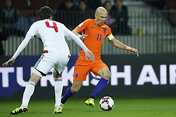(L-R) Aleksei Yanushkevich of Belarus, Arjen Robben of Holland during the FIFA World Cup 2018 qualifying match between Belarus and Netherlands on October 07, 2017 at Borisov Arena in Borisov,  Belarus