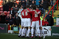 Photo: Rich Eaton.<br /> <br /> Bristol City v Millwall. Coca Cola League 1. 16/12/2006. Bristol players celebrate Scott Murrays (hidden) goal in the first minute of the game