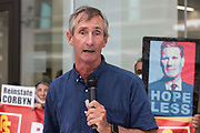 Greg Hadfield, who advised that he had been suspended three times by the Labour Party, addresses supporters of left-wing Labour Party groups at a protest lobby outside the partys headquarters on 20th July 2021 in London, United Kingdom. The lobby was organised to coincide with a Labour Party National Executive Committee meeting during which it was asked to proscribe four organisations, Resist, Labour Against the Witchhunt, Labour In Exile and Socialist Appeal, members of which could then be automatically expelled from the Labour Party.