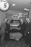 Renault 5, Launch in Dublin  (G20)..1974..25.01.1974..01.25.1974..25th January 1974..At the Burlington Hotel ,Dublin, Renault Ireland unveiled their newest addition to the fleet of cars in the Renault range. The Renault 5 will fill a niche in the small car market and is competitively priced at £1495..At the unveiling of the new Renault 5 today,car dealers from around the country admire the new model.