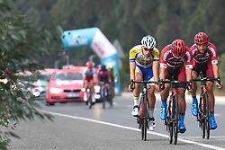 October 11, 2018 - Marmaris, Turkey - (Left-Right) Kenneth Van Rooy, Feritcan Samli and Muhammed Atalay, a part of a seven men breakaway during the third stage - the Troy Stage 137.2km Fethiye - Marmaris, of the 54th Presidential Cycling Tour of Turkey 2018. .On Thursday, October 11, 2018, in Marmaris, Turkey. (Credit Image: © Artur Widak/NurPhoto via ZUMA Press)
