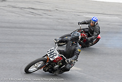 Doug Young on his 45 ci Harley-Davidson flathead motorcycle racer in the Sons of Speed Vintage Motorcycle Races at New Smyrina Speedway. New Smyrna Beach, USA. Saturday, March 9, 2019. Photography ©2019 Michael Lichter.