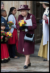 March 12, 2018 - London, London, United Kingdom - Image licensed to i-Images Picture Agency. 12/03/2018. London, United Kingdom.  The Queen leaving the Commonwealth Day Service at Westminster Abbey in London. (Credit Image: © Stephen Lock/i-Images via ZUMA Press)