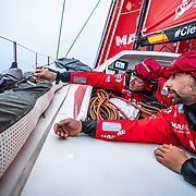 Leg 9, from Newport to Cardiff, day 08 on board MAPFRE, Antonio Cuervas-Mons and Guillermo Altadill making friends. 27 May, 2018.
