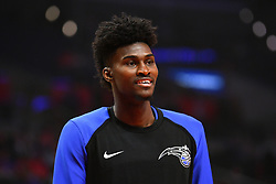 January 6, 2019 - Los Angeles, CA, U.S. - LOS ANGELES, CA - JANUARY 06: Orlando Magic Forward Jonathan Isaac (1) looks on before a NBA game between the Orlando Magic and the Los Angeles Clippers on January 6, 2019 at STAPLES Center in Los Angeles, CA. (Photo by Brian Rothmuller/Icon Sportswire) (Credit Image: © Brian Rothmuller/Icon SMI via ZUMA Press)