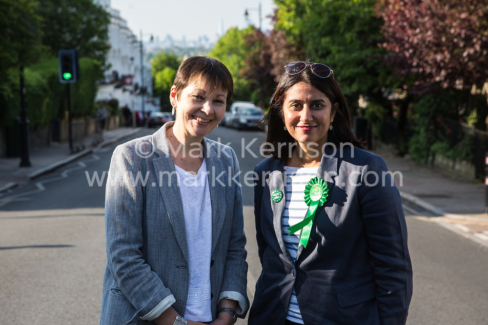 London, UK. 22 May, 2019. Caroline Lucas (l), Green Party MP for Brighton Pavilion, campaigns for the European elections in Gipsy Hill, Lambeth, with Gulnar Hasnain, who is on the Green Party list in London. After Gibraltar, Lambeth is the most pro-Remain area of the UK with 78.6% having voted Remain in 2016. There was a large swing to the Green Party in Gipsy Hill, historically a safe Labour seat, in May 2018 when Pete Elliott was elected as a Green councillor.