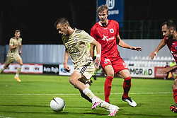 Adrija Filipović of Mura and Frederik Tingager of AGF Aarhus during football match between NS Mura and AGF Aarhus in Second Round of UEFA Europa League Qualifications, on September 17, 2020 in Stadium Fazanerija, Murska Sobota, Slovenia. Photo by Blaz Weindorfer / Sportida