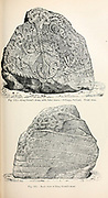 King Gorm's stone, with later runes. Jellinge, Jutland, Denmark from the book '  The viking age: the early history, manners, and customs of the ancestors of the English speaking nations ' by Du Chaillu, (Paul Belloni), 1835-1903 Publication date 1889 by C. Scribner's sons in New York,