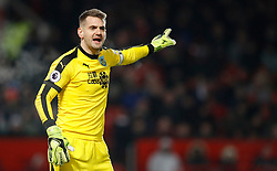 """Burnley goalkeeper Thomas Heaton gestures during the Premier League match at Old Trafford, Manchester. PRESS ASSOCIATION Photo. Picture date: Tuesday January 29, 2019. See PA story SOCCER Man Utd. Photo credit should read: Martin Rickett/PA Wire. RESTRICTIONS: EDITORIAL USE ONLY No use with unauthorised audio, video, data, fixture lists, club/league logos or """"live"""" services. Online in-match use limited to 120 images, no video emulation. No use in betting, games or single club/league/player publications"""