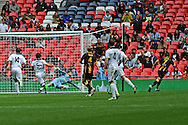 Goal! Sean Taylor of Morpeth Town AFC scores to make it 3-1 during the FA Vase match between Hereford FC and Morpeth Town at Wembley Stadium, London, England on 22 May 2016. Photo by Mike Sheridan.