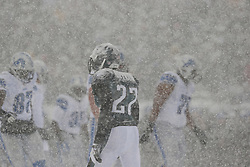 Snow accumulates on the uniform and helmet of Philadelphia Eagles cornerback Brandon Boykin #22 during the NFL game between the Detroit Lions and the Philadelphia Eagles on Sunday, December 8th 2013 in Philadelphia. (Photo by Brian Garfinkel)