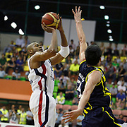 Efes Pilsen's Charles SMITH (L) during their Turkish Basketball league Play Off Final fifth leg match Efes Pilsen between Fenerbahce Ulker at the Ayhan Sahenk Arena in Istanbul Turkey on Sunday 30 May 2010. Photo by Aykut AKICI/TURKPIX