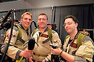 Garden City, New York, U.S. - June 14, 2014 - L-R, DIMITRIOS HARITOS, CHRIS HARITOS, and STEVE CARABELLO, all of the Selden Centereach area, from the Long Island Ghostbusters, a charitable volunteer group, are at Eternal Con, the annual Pop Culture Expo, with costumes, Comic Books, Collectibles, Gaming, Sci-Fi, Cosplay, Horror, and held at the Cradle of Aviation Museum on Long Island.