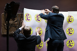 © Licensed to London News Pictures . 03/11/2015 . Oldham , UK . UKIP party activists set up for the launch of the UKIP campaign for the seat of Oldham West and Royton , at the Railway Hotel in Royton . The by-election has been triggered by the death of MP Michael Meacher . Photo credit : Joel Goodman/LNP