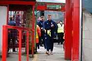 Ipswich players arriving at the Wham Stadium during the The FA Cup 3rd round match between Accrington Stanley and Ipswich Town at the Fraser Eagle Stadium, Accrington, England on 5 January 2019.