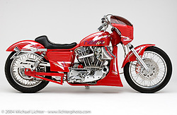 """""""Ness Cafe"""" custom bike built by Arlen Ness in Dublin, CA, October 14, 2004, photographed by Michael Lichter in Dublin, CA. ©2004 Michael Lichter"""