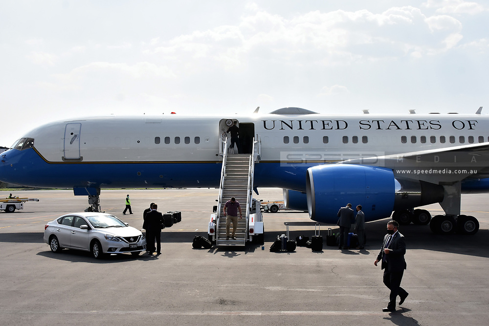 MEXICO CITY, MEXICO - JUNE 8: United States Secret Service review the plane before Vice President Kamala Harris fly to  Joint Base Andrews in Washington, DC.  at  Benito Juarez International  Airport on June 8, 2021 in Mexico City, Mexico.