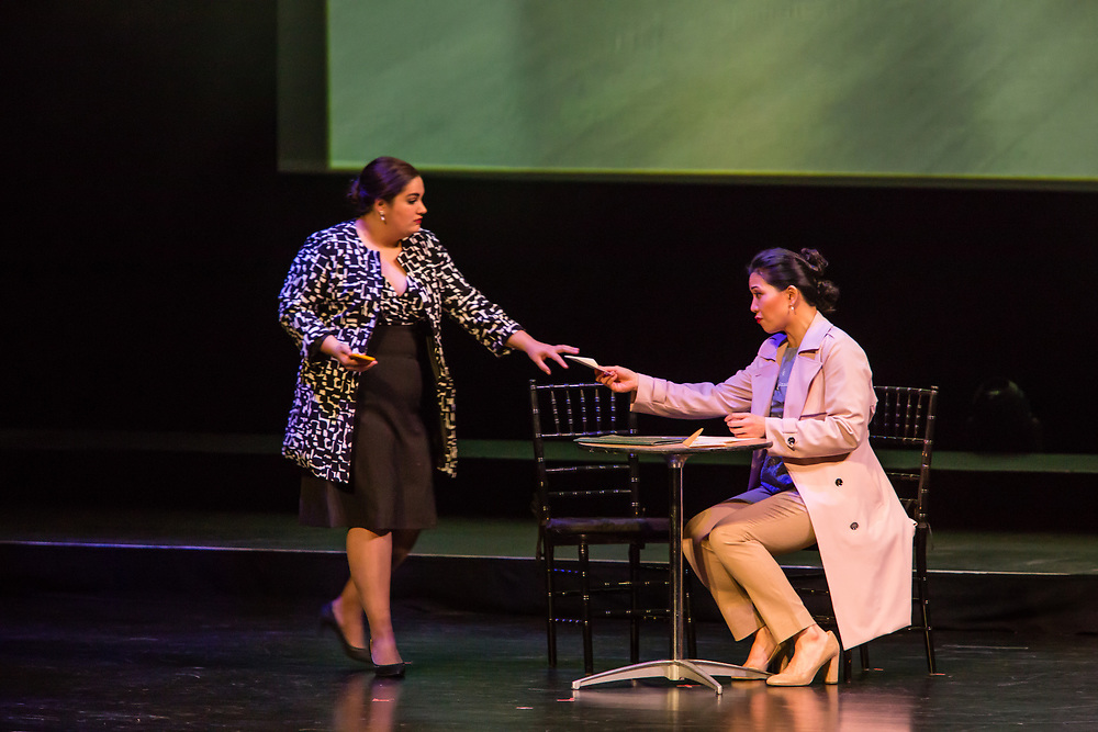 Karen Chila-Ling Ho as Violetta and Liz Lang as Annina in Verdi'a La Traviata in the Philharmonia Orchestra's production at the Rose Theater at Jazz at Lincoln Center.