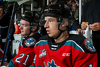 KELOWNA, BC - SEPTEMBER 28:   Elias Carmichael #14 of the Kelowna Rockets sits on the bench against the Everett Silvertips at Prospera Place on September 28, 2019 in Kelowna, Canada. (Photo by Marissa Baecker/Shoot the Breeze)