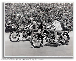 Cory Ness riding one of his early customs beside his Dad Arlen Ness on the Blower Bike. CA. ©1977 Ness Family Archive