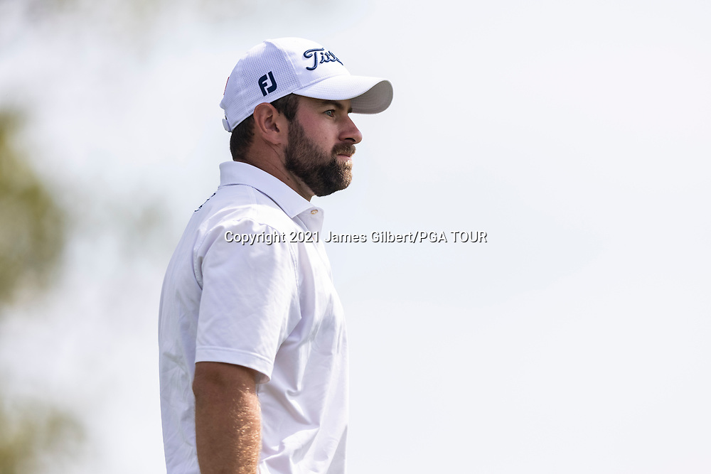 NEWBURGH, IN - SEPTEMBER 03: Cameron Young looks on from the 18th tee during the second round of the Korn Ferry Tour Championship presented by United Leasing and Financing at Victoria National Golf Club on September 3, 2021 in Newburgh, Indiana. (Photo by James Gilbert/PGA TOUR via Getty Images)