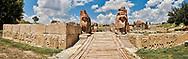 Pictures & Images of the Sphinx gate Hittite sculpture, Alaca Hoyuk (Alacahoyuk) Hittite archaeological site Alaca, Çorum Province, Turkey, Also known as Alacahüyük, Aladja-Hoyuk, Euyuk, or Evuk .<br /> <br /> If you prefer to buy from our ALAMY PHOTO LIBRARY  Collection visit : https://www.alamy.com/portfolio/paul-williams-funkystock/alaca-hoyuk-hittite-site.html<br /> <br /> Visit our TURKEY PHOTO COLLECTIONS for more photos to download or buy as wall art prints https://funkystock.photoshelter.com/gallery-collection/3f-Pictures-of-Turkey-Turkey-Photos-Images-Fotos/C0000U.hJWkZxAbg