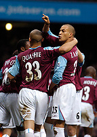 Photo: Leigh Quinnell.<br /> West Ham United v Fulham. The Barclays Premiership. 13/01/2007. West Hams Bobby Zamora(R) celebrates his goal with his team mates.