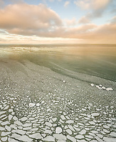 Aerial view of pieces of ice floating on the Baltic sea in Estonia.