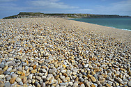 Chesil Beach looking towards Portland, Dorset, UK
