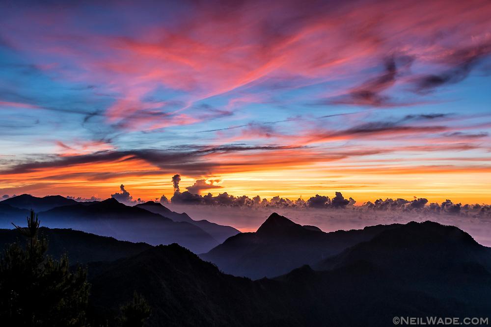 Sunrise over Taroko Gorge as seen from the remote Qilai East Ridge Hiking Trail.