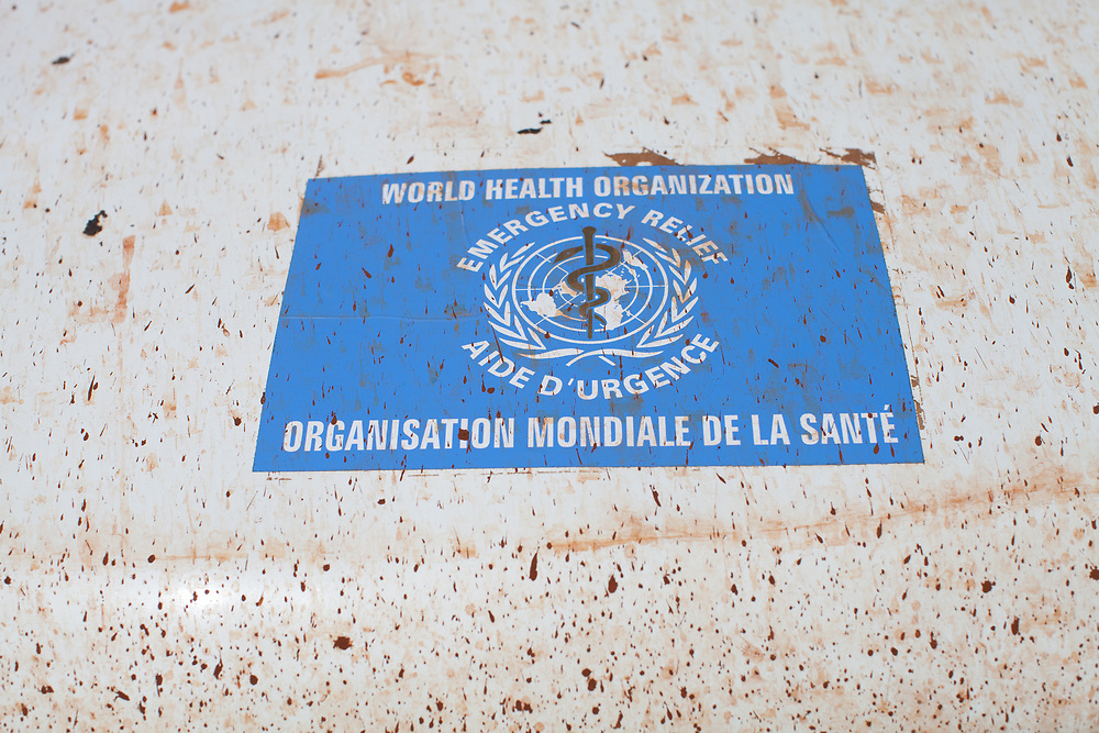 The bonnet of a vehicle of the World Health Organisation during the clinical trials for ebola virus disease vaccine in Guinea.