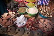 Traditional medicines and cosmetics on medina market stall Marrakech, Morocco