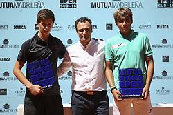 May 12, 2019 - Madrid, MADRID, SPAIN - Alejandro Manzanera (ESP) winner of the Mutua Madrid Open Sub 16, 2019 and Daniel Merida (ESP), finalist, and Berasategui, at Caja Magica in Madrid, Spain, on May 11, 2019. (Credit Image: © AFP7 via ZUMA Wire)