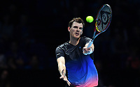 Tennis - 2018 Nitto ATP Finals at The O2 - Day One<br /> <br /> Group Doubles Group Llodra/Santoro: Jamie Murray (GB) & Bruno Soares (Bra) vs. Raven Klaasen (SA) & Michael Venus (NZ)<br /> <br /> Murray plays a forehand.<br /> <br /> COLORSPORT/ASHLEY WESTERN