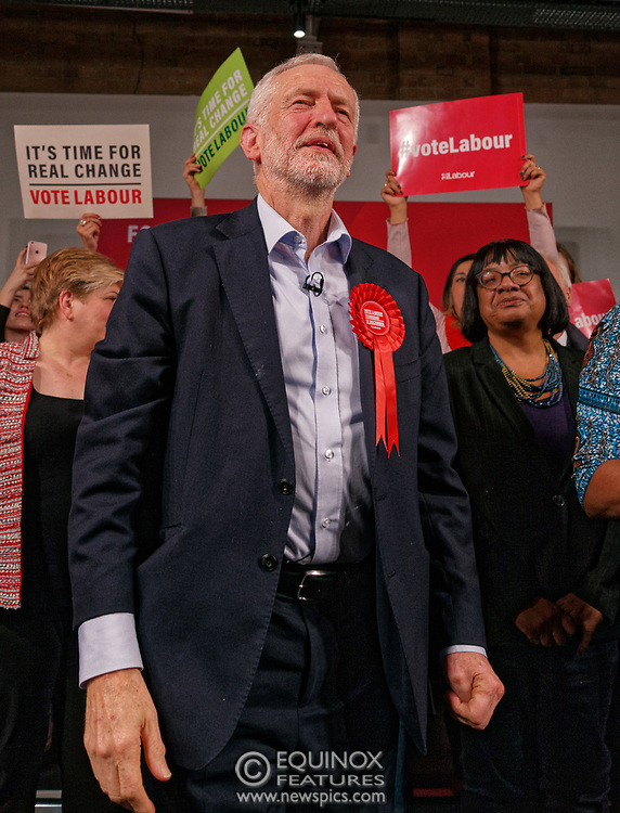 London, United Kingdom - 11 December 2019<br /> Labour Party leader Jeremy Corbyn speaking at their final campaign rally before the General Election 2019 at Hoxton Docks, London, England, UK.<br /> (photo by: EQUINOXFEATURES.COM)<br /> Picture Data:<br /> Photographer: Equinox Features<br /> Copyright: ©2019 Equinox Licensing Ltd. +443700 780000<br /> Contact: Equinox Features<br /> Date Taken: 20191211<br /> Time Taken: 21580379<br /> www.newspics.com