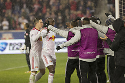March 1, 2018 - Harrison, New Jersey, United States - Players of New York Red Bulls Celebrate goal by Bradley Wright-Phillips (99) during 2018 CONCACAF Champions League round of 16 game against CD Olimpia of Honduras at Red Bull arena, Red Bulls won 2 - 0  (Credit Image: © Lev Radin/Pacific Press via ZUMA Wire)