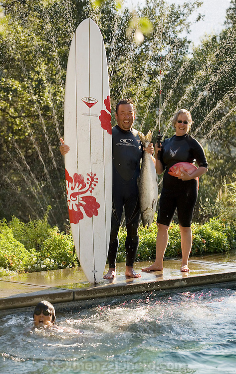 Chef Cindy Pawlcyn and Ken Tominaga by Cindy's swimming pool in St. Helena, CA. Napa Valley. Cindy is opening a new restaurant with Ken Tominaga called Go Fish.