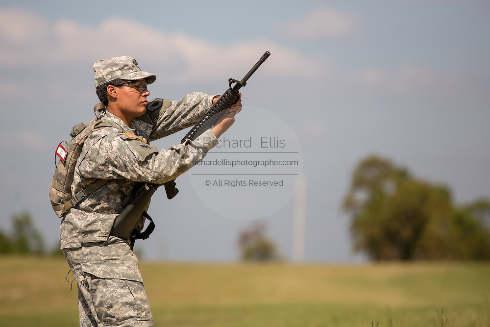 A woman Drill Sergeant candidate is tested on weapons drills at the US Army Drill Instructors School Fort Jackson September 26, 2013 in Columbia, SC. While 14 percent of the Army is women soldiers there is a shortage of female Drill Sergeants.
