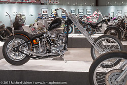 Chris Grave's custom 1959 Harley-Davidson stroked Panhead chopper in the Old Iron - Young Blood exhibition in the Motorcycles as Art gallery at the Buffalo Chip during the annual Sturgis Black Hills Motorcycle Rally. Sturgis, SD, USA. Wednesday August 9, 2017. Photography ©2017 Michael Lichter.